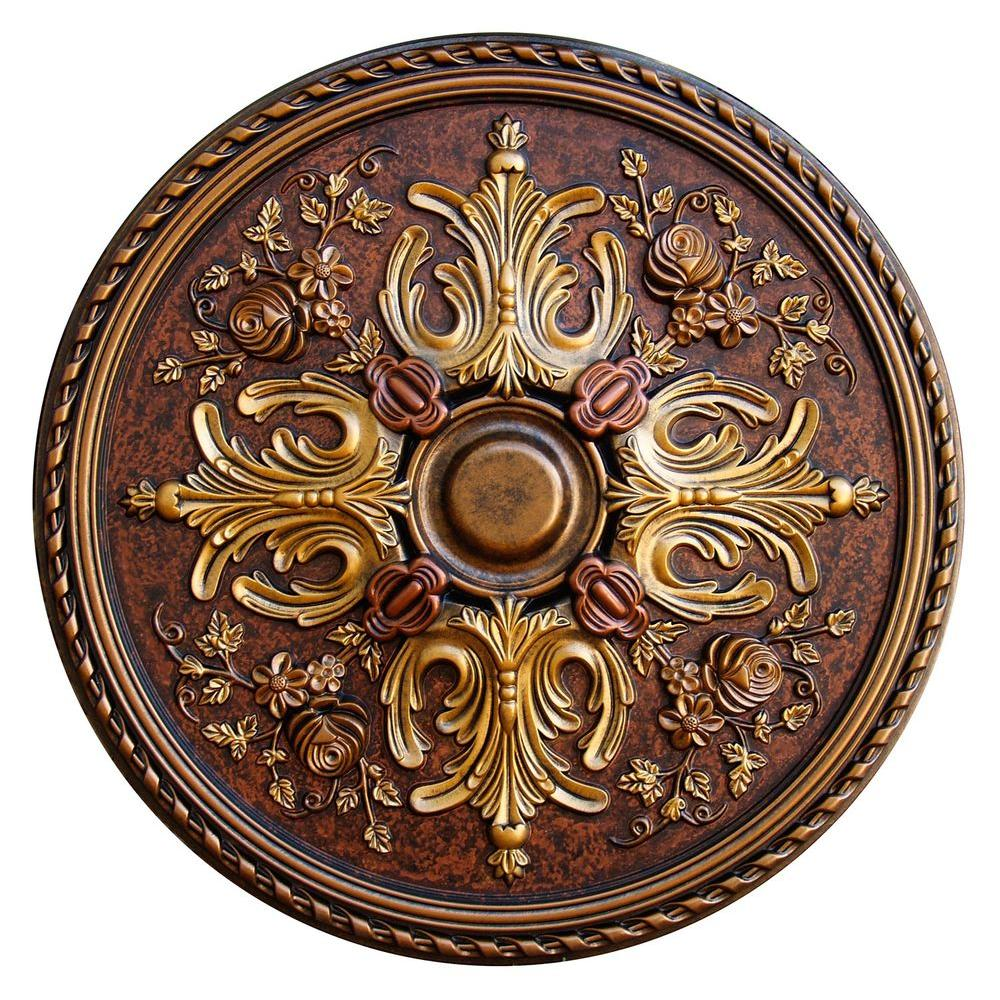 Fine Art Deco 32-3/4 in. Floral Desire, Bronze, Gold, Copper Polyurethane Hand Painted Ceiling Medallion