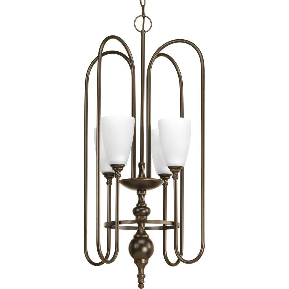 Progress Lighting Revive Collection 4 Light Antique Bronze Foyer Pendant With Etched Fluted Glass P4227 20 The Home Depot