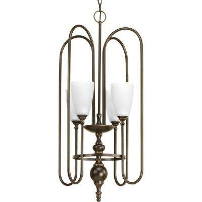 Revive Collection 4-Light Antique Bronze Foyer Pendant with Etched Fluted Glass