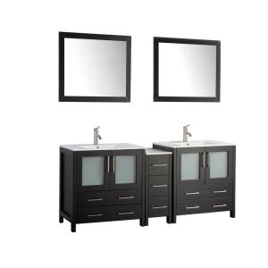 Brescia 72 in. W x 18 in. D x 36 in. H Bath Vanity in Espresso with Vanity Top in White with White Basin and Mirror
