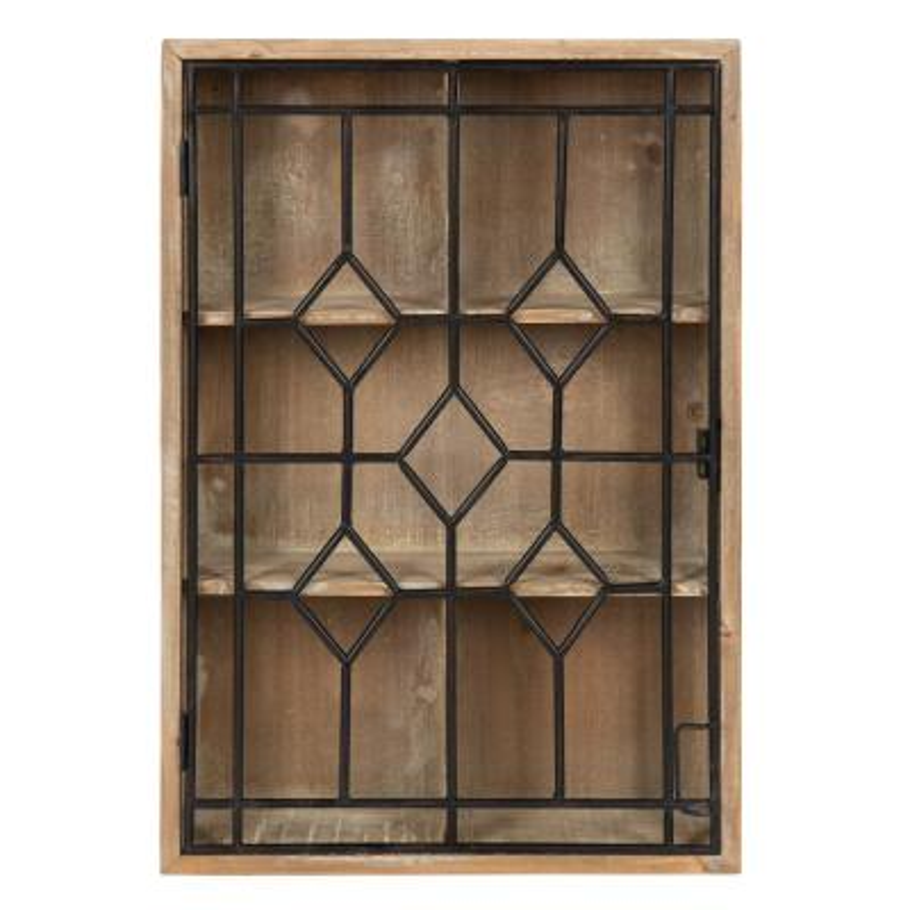 Megara 6 in. x 16 in. x 24 in. Rustic Brown/Black Wood with Metal Door Decorative Cabinet Wall Shelf
