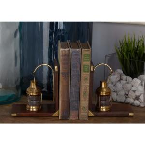6 inch x 6 inch Classical Brass and Wood Lantern Bookends by