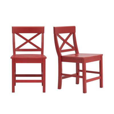 Cedarville Chili Red Wood Dining Chair with Cross Back (Set of 2) (19.42 in. W x 31.98 in. H)
