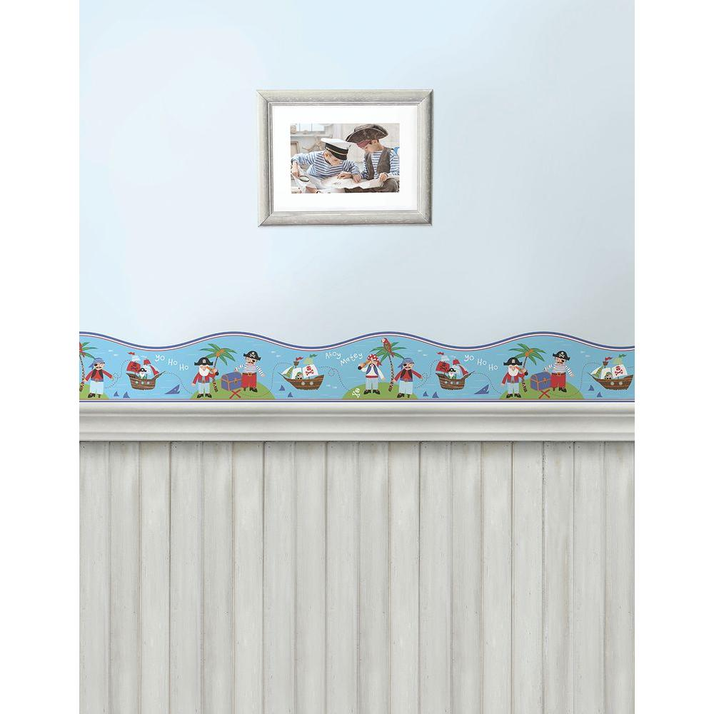 Brewster pirates blue wallpaper border 2679 50113 the for Blue wallpaper for home