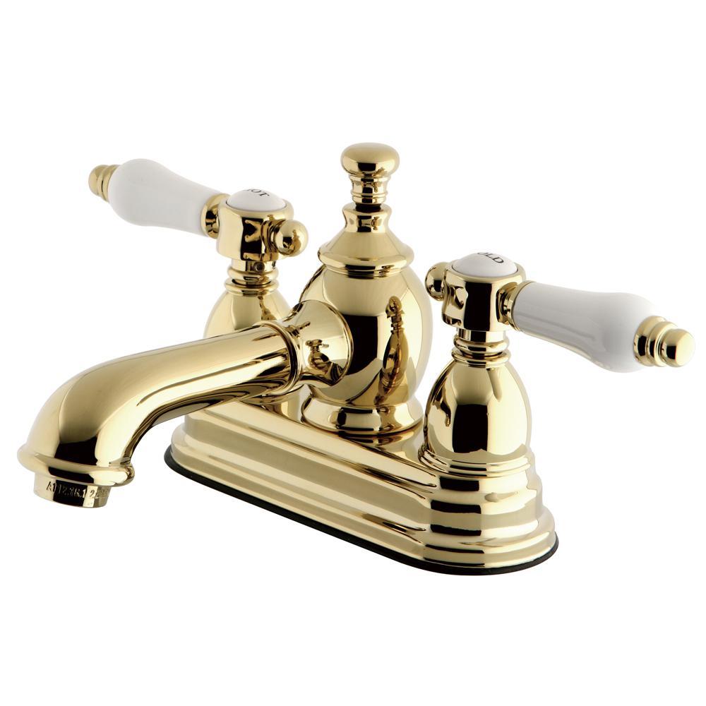 Vintage Porcelain 4 in. Centerset 2-Handle Mid-Arc Bathroom Faucet in Polished Brass