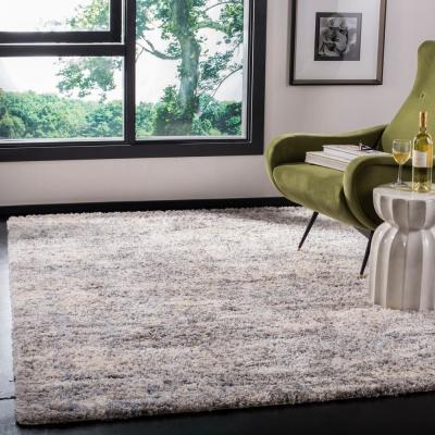 Berber Shag Grey/Cream 9 ft. x 12 ft. Area Rug