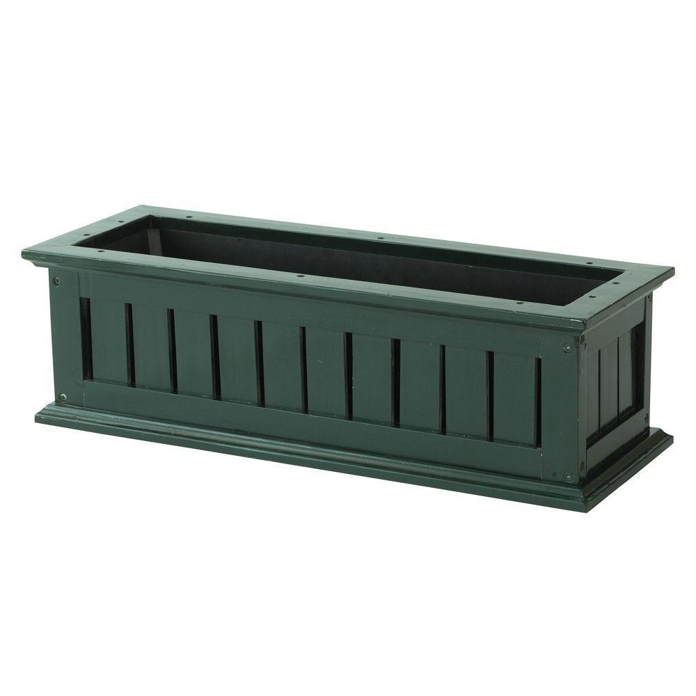 DMC 24 in. Hunter Green Nantucket Wood Window Box