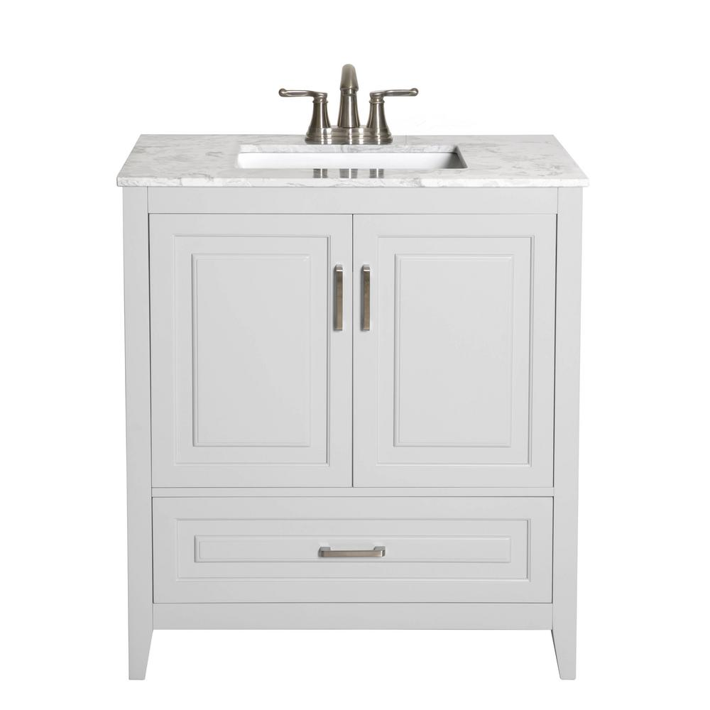 Decor Living Leland 30 In W X 19 In D Bath Vanity In Gray With Engineered Stone Vanity Top In Gray With White Basin