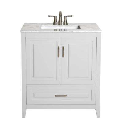 Leland 30 in. W x 19 in. D Bath Vanity in Gray with Engineered Stone Vanity Top in Gray with White Basin