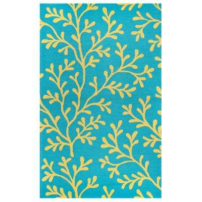 Azzura Hill Dark Teal Floral 4 ft. x 6 ft. Indoor/Outdoor Area Rug