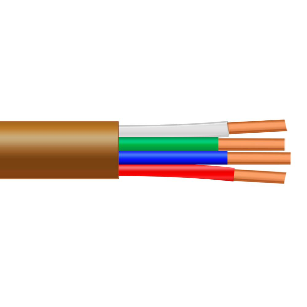 18 4 Wire   Syston Cable Technology 500 Ft 18 4 Solid Bc Cmr Cl2r Brown