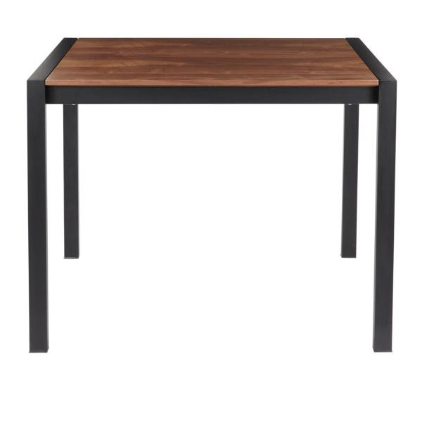Fuji Black Metal Counter Height Dining Table with Walnut Wood Top