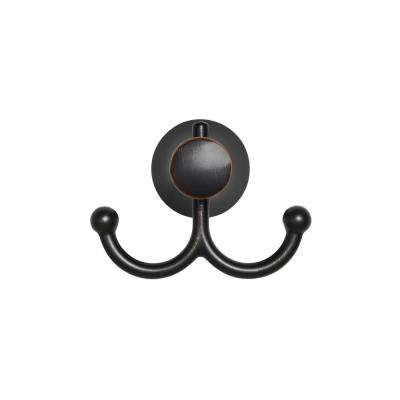 Transitional Wall-Mounted Double Robe Hook in Legacy Bronze