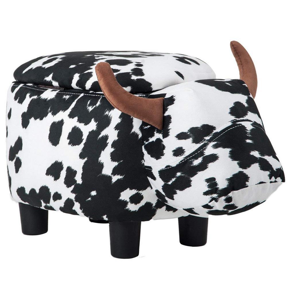 Cow Animal Storage Ottoman Footrest Stool