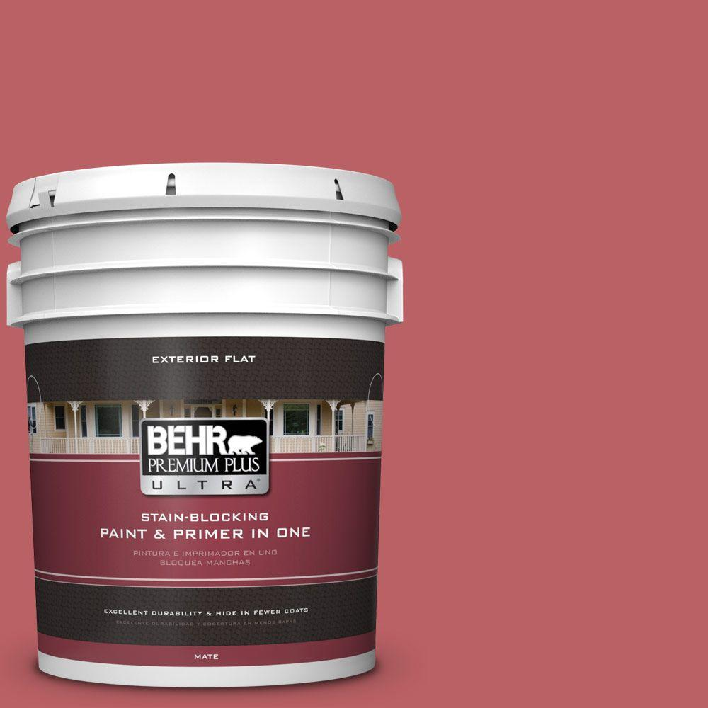 BEHR Premium Plus Ultra 5-gal. #150D-6 Strawberry Rhubarb Flat Exterior Paint