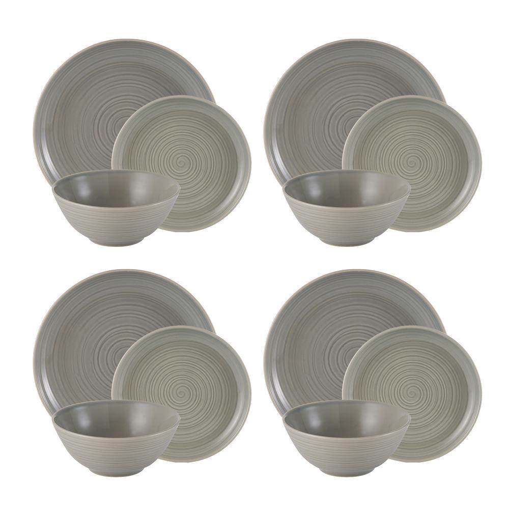 William Mason 12-Piece Ceramic Grey Dinnerware Set