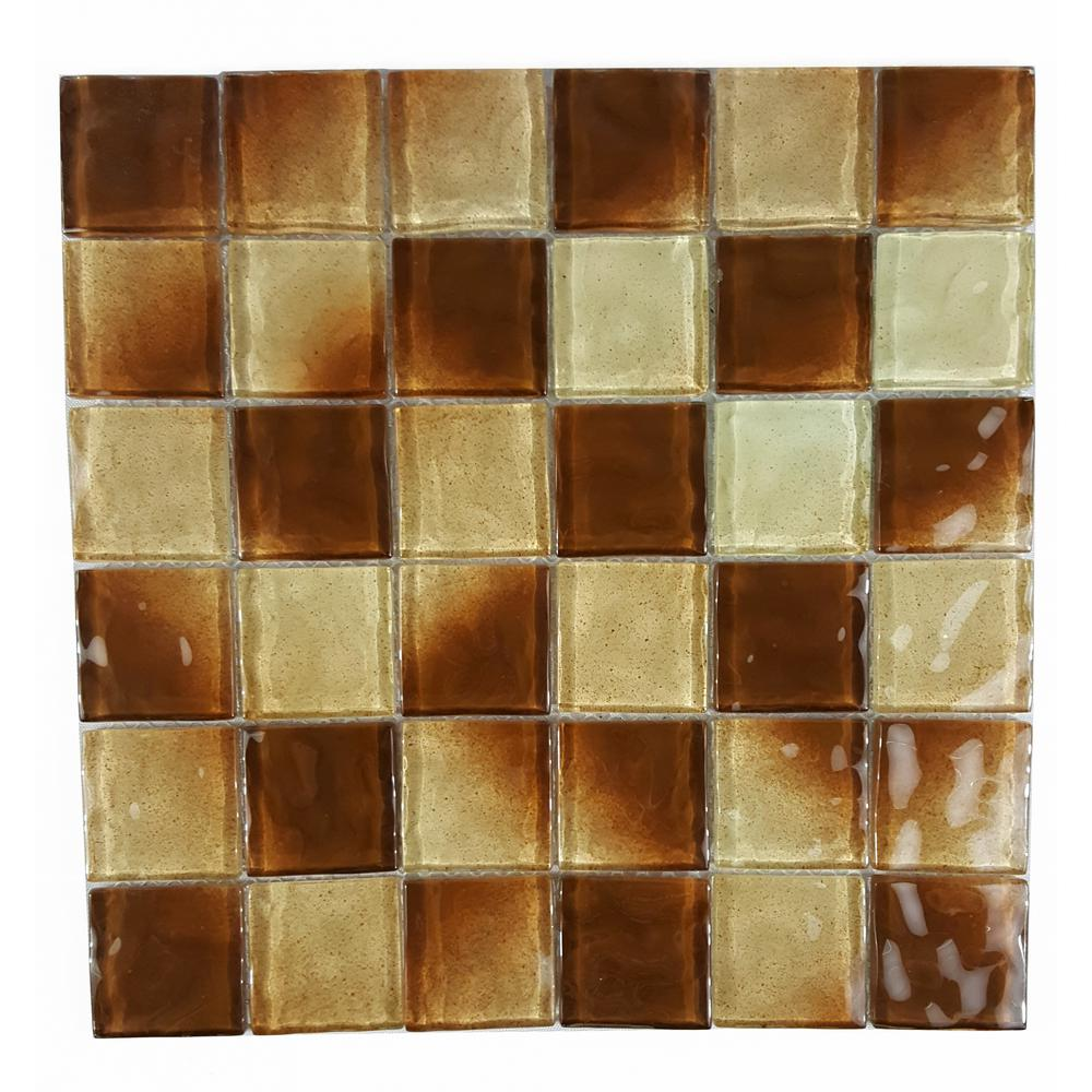 Watermarks Chocolate 10.78 in. x 10.78 in. 6.35 mm Glass Mosaic