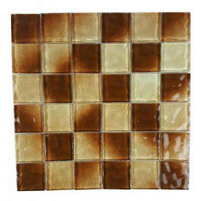 Watermark Chocolate Brown Square Mosaic 2 in. x 2 in. Glossy Glass Mesh Mounted Wall and Pool Tile (0.8 Sq.Ft)