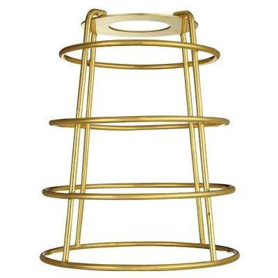 6-7/16 in. Polished Brass Industrial Cage Metal Shade with Open Bottom with 2-1/4 in. Fitter and 5-3/8 in. Width