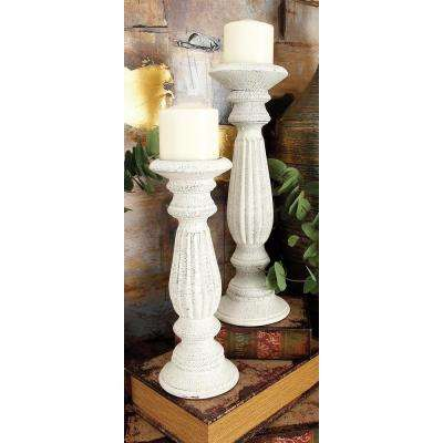 Distressed White Mango Wood Round Tapered and Fluted Post Candle Holders (Set of 3)