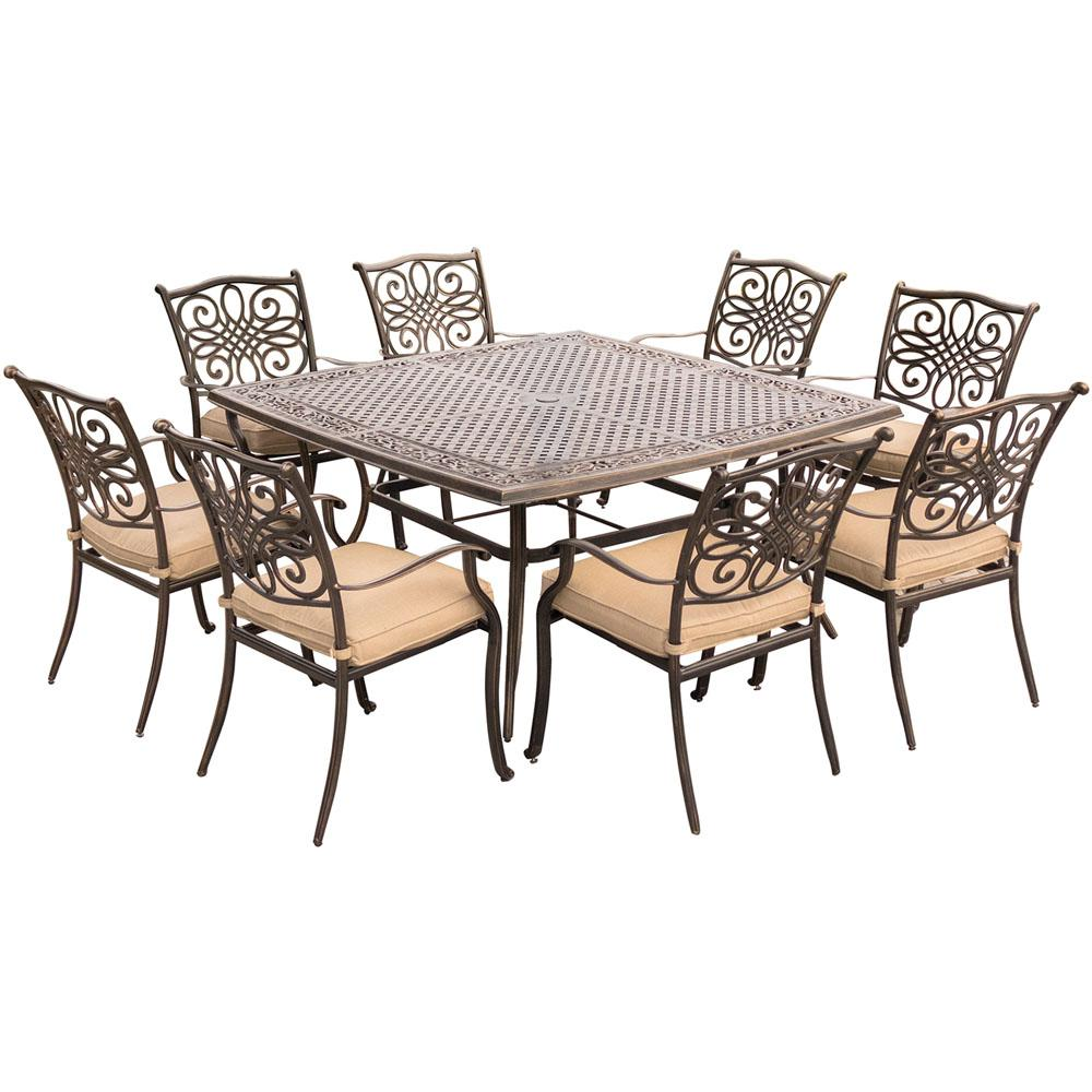 Hanover traditions 9 piece aluminium square patio dining for Jardin 8 piece dining set