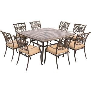 Hanover Traditions 9-Piece Aluminium Square Patio Dining Set with Eight Stationary Dining... by Hanover