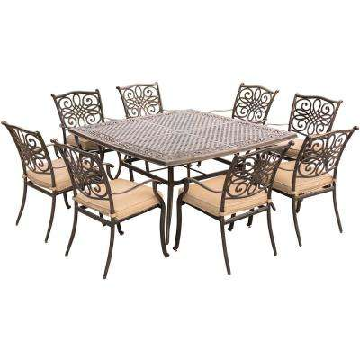 Traditions 9-Piece Aluminium Square Patio Dining Set with Eight Stationary Dining Chairs and Natural Oat Cushions