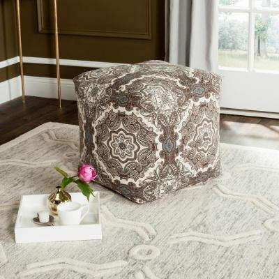 Coco Floral Pouf in Brown