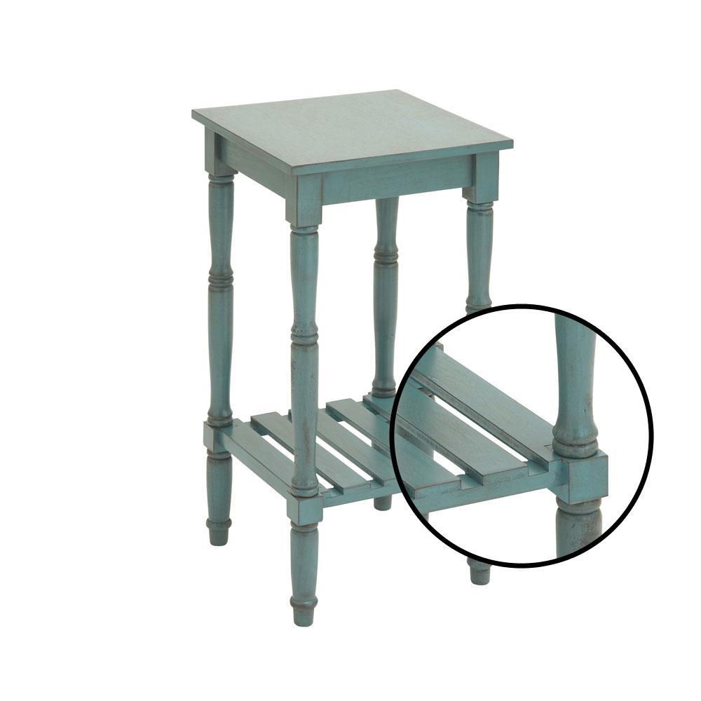 Prime Distressed Teal Square Wooden Side Table With Slatted Bottom Shelf Short Links Chair Design For Home Short Linksinfo