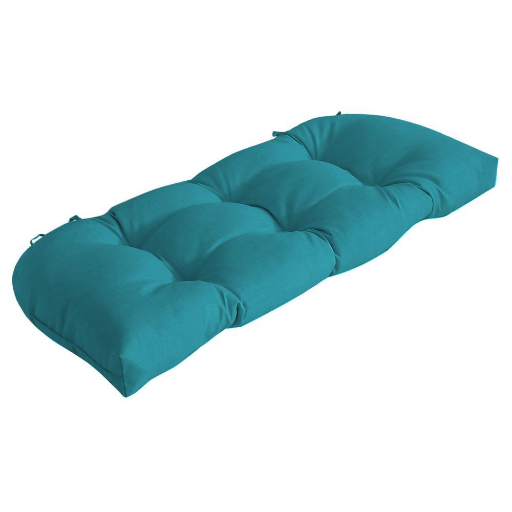 Rectangle Outdoor Wicker Settee Cushion in Lake Blue Leala Texture