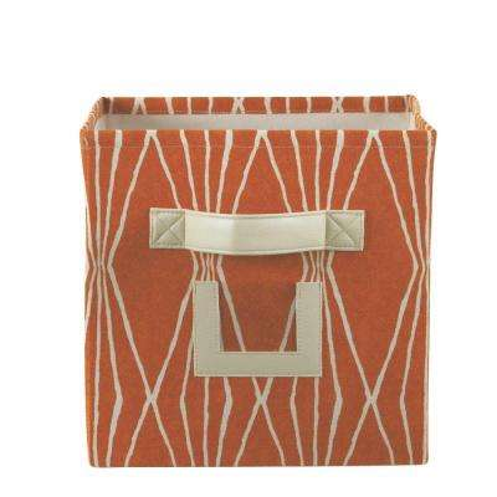 H Crushed Orange Fabric Storage Bin With Handle