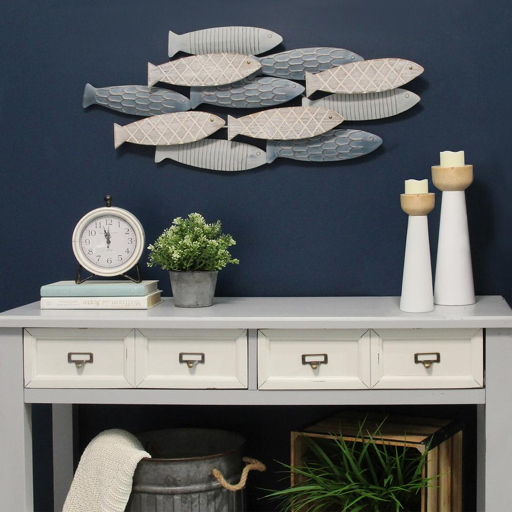 Stratton Home Decor School Of Fish Wall Decor S16079 The Home Depot