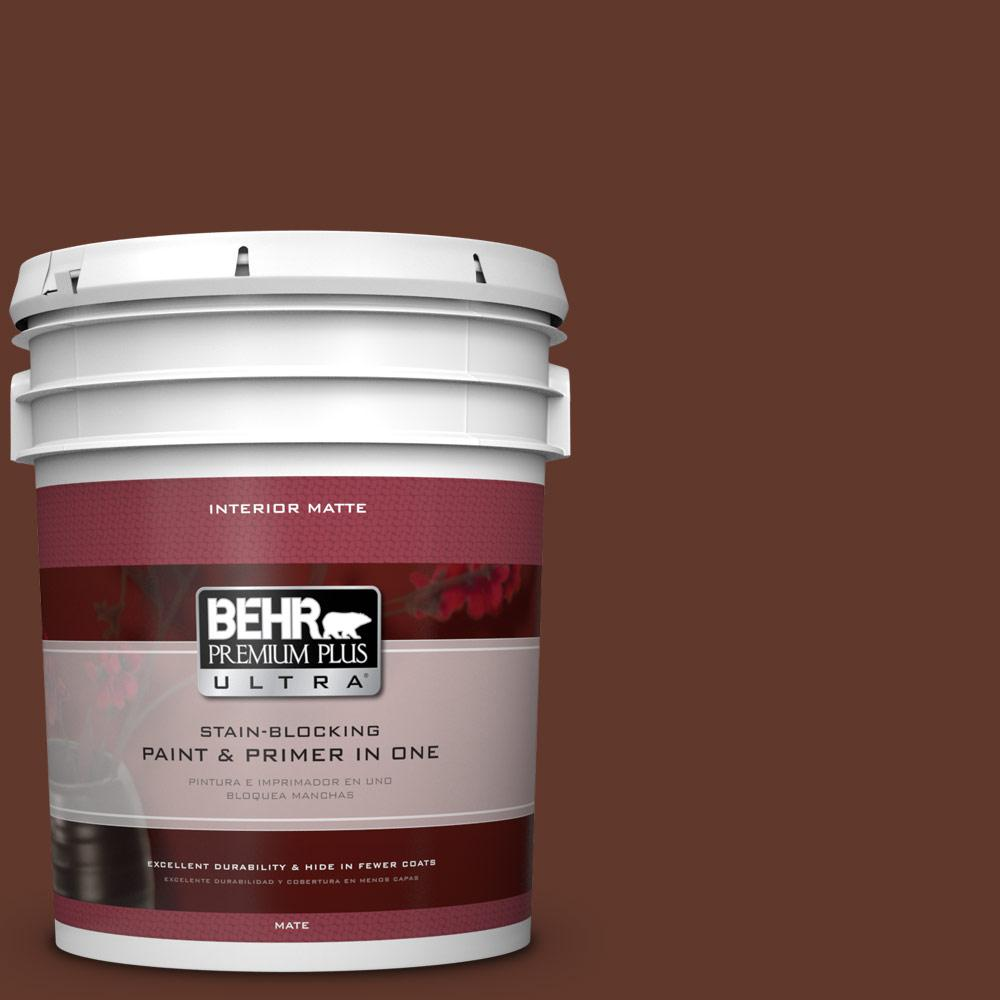 BEHR Premium Plus Ultra 5 gal. #ECC-42-3 Deep Cherrywood Flat/Matte Interior Paint