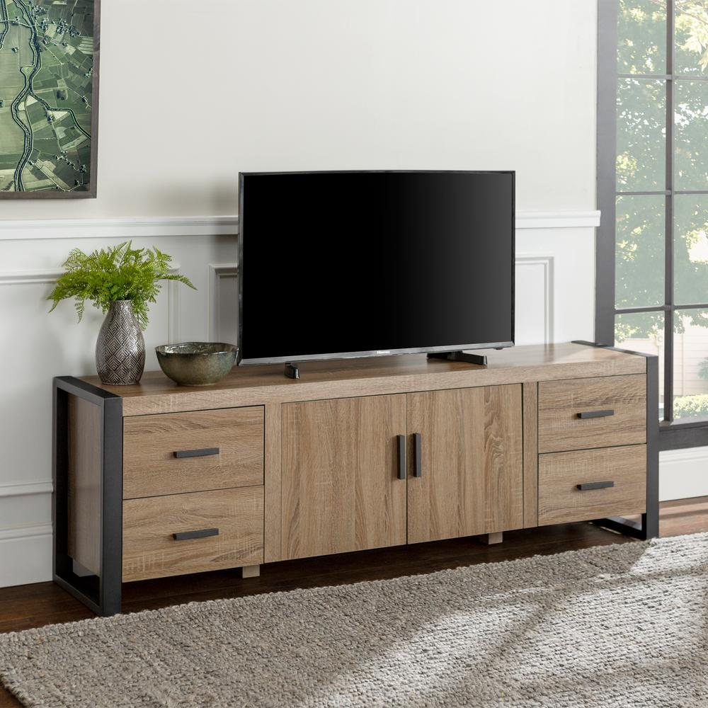 Urban Blend 71 in. Ash Gray Wood TV Stand with 4 Drawer Fits TVs Up to 70 in. with Adjustable Shelves