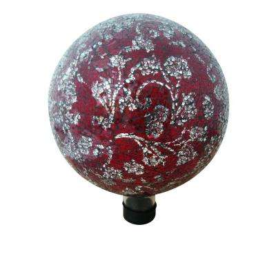 10 in. Red Mosaic Glass Gazing Globe with Flower Pattern