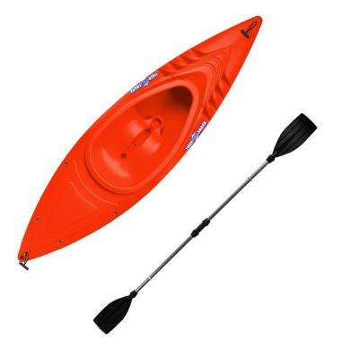 Tiger Shark Series 9 ft. Orange Sit-in Kayak with Dry-Ride Wave Breaker Design Includes 87 in. Locomotion Paddle