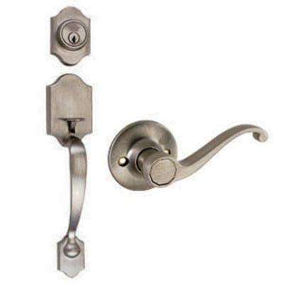 Sussex Satin Nickel Door Door Handleset with Scroll Lever Interior and Single Cylinder Deadbolt