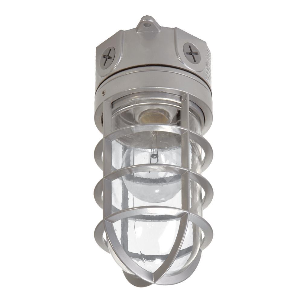 Halo 100 Watt Gray Incandescent Outdoor Flush Mount Vapor Tight Light Fixture Vt100g The Home Depot