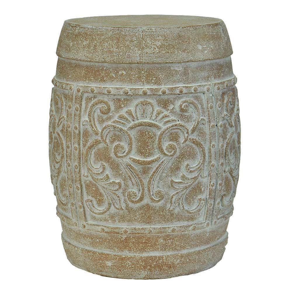 H Cast Stone Carved Garden Stool In White