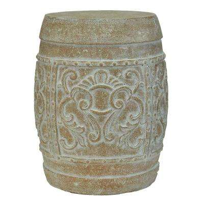 19-1/2 in. H Cast Stone Carved Garden Stool in White Wash Terracotta