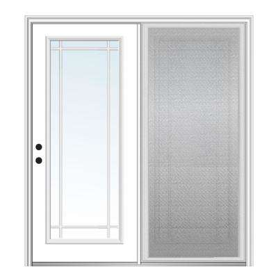 72 in. x 80 in. Primed Fiberglass Prehung Right Hand Grilles Between Clear Glass Full Lite Hinged Patio Door with Screen