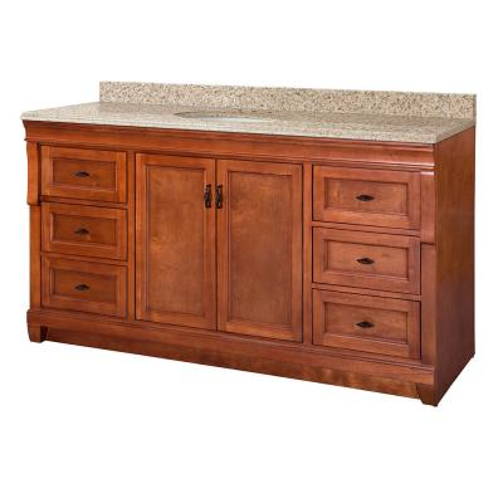 Naples 61 in. W x 22 in. D Vanity in Warm Cinnamon with Granite Vanity Top in Beige with White Sink