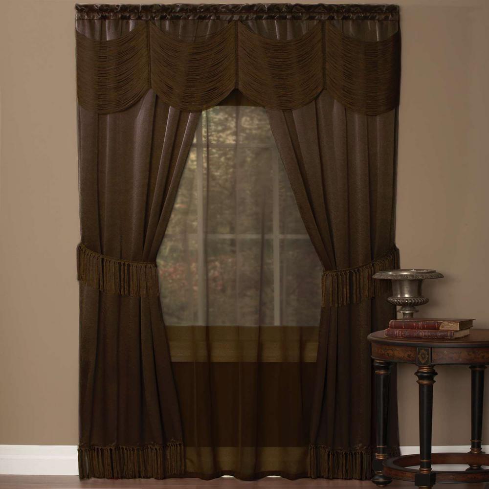 Achim Sheer Halley Chocolate Window Curtain Set - 56 in. W x 63 in ...