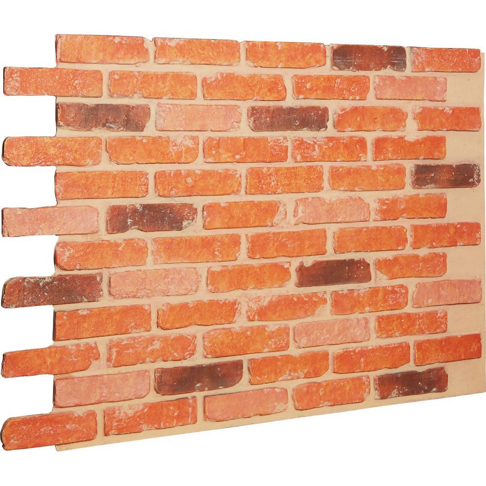 Ekena Millwork 7/8 in. x 46-5/8 in. x 33-3/4 in. Victorian Brick Urethane Old Chicago Brick Wall Panel