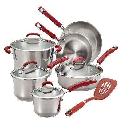 11-Piece Stainless Steel and Red Cookware Set with Lids