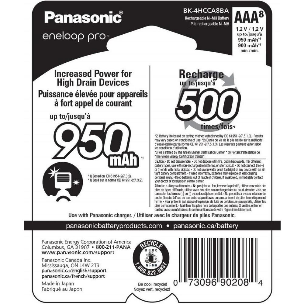 High Capacity Panasonic Eneloop Pro AAA 950mAh Min 900mAh Ni-MH Pre-Charged Rechargeable 2 Batteries