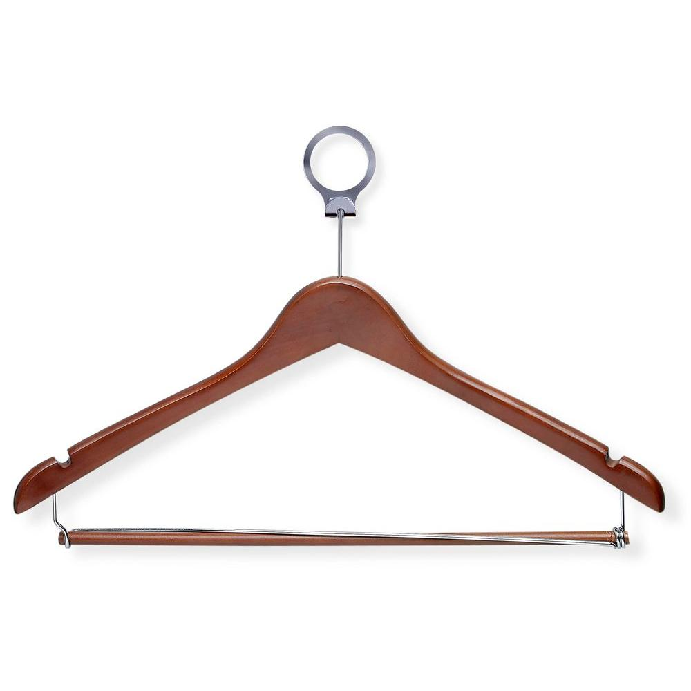 Cherry Hotel Suit Hangers with Locking Bar (24-Pack)