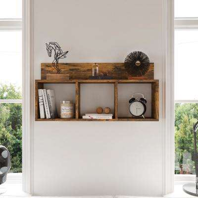 Porto Aged Pine Wood Laminate MDF Triple Cubbie Shelf