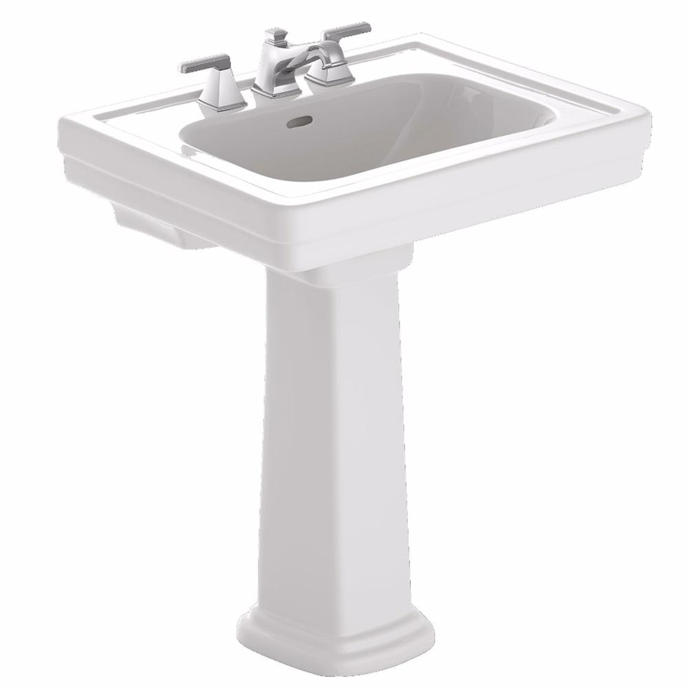 Toto Promenade 24 In Pedestal Combo Bathroom Sink With 8 In Faucet Holes In Cotton White