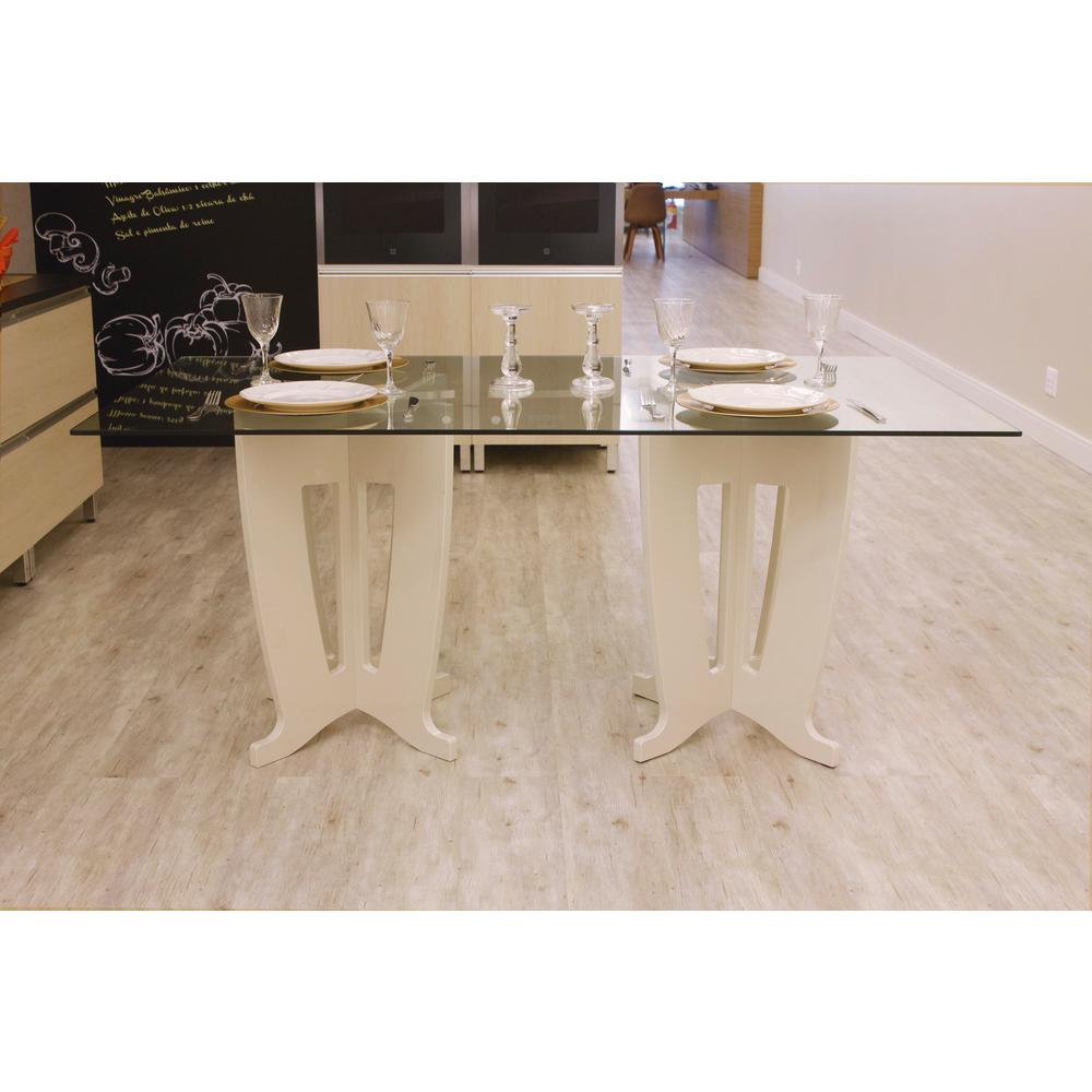 Jane 2.0 -78.64 in. Off-White Sleek Tempered Glass Table Top